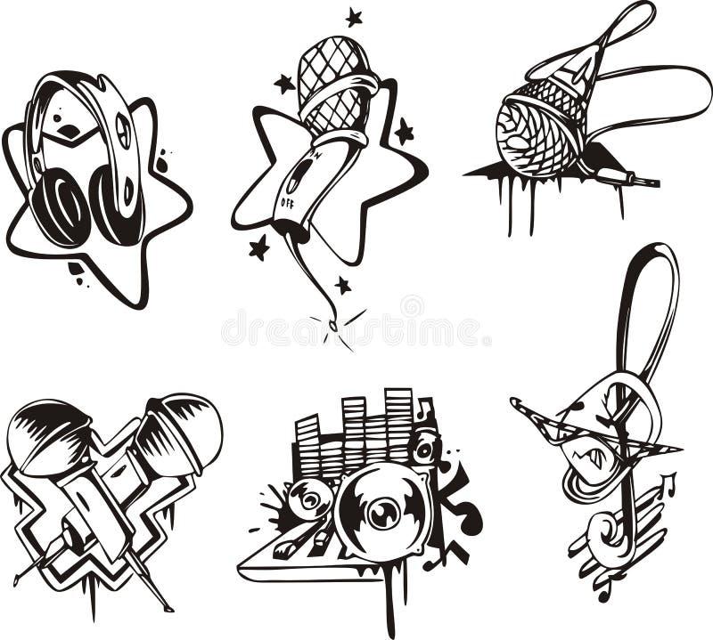 Музыкальные эмблемы и символы иллюстрация штока