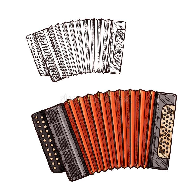 Музыкальный инструмент аккордеона эскиза вектора иллюстрация вектора