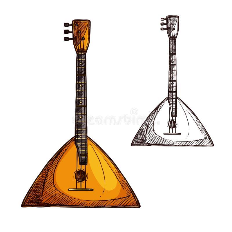 Музыкальный инструмент гитары балалайки эскиза вектора иллюстрация штока
