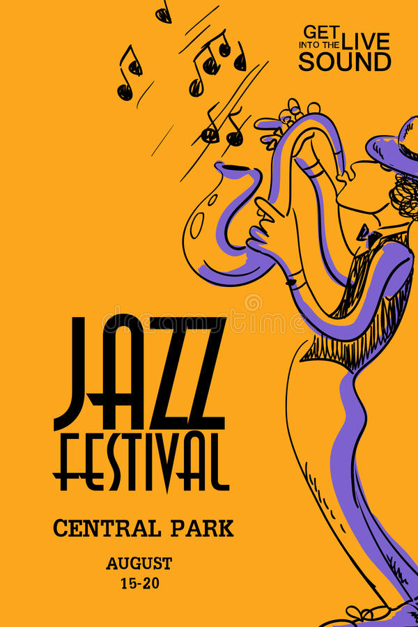 Музыкальный плакат с игроком саксофона бесплатная иллюстрация