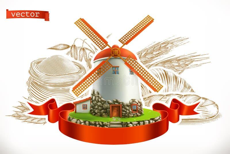Мука пшеница хлеба Комплект значка вектора гравировки бесплатная иллюстрация