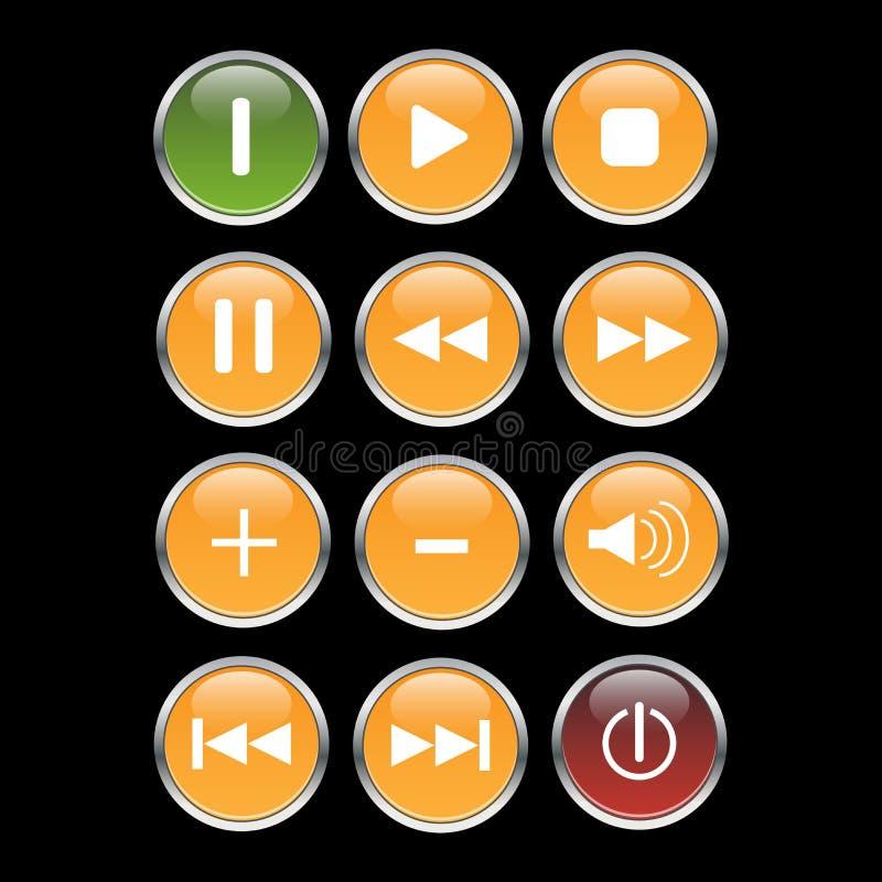 мультимедиа кнопки vector сеть иллюстрация штока