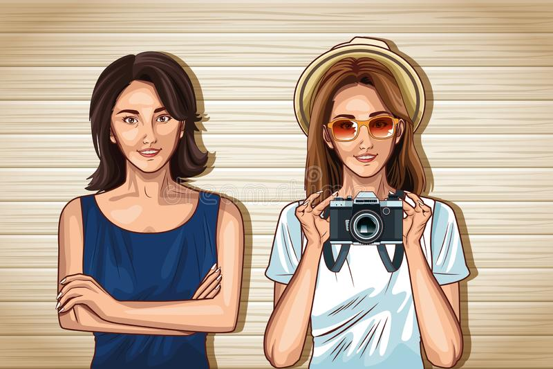 Мультфильмы женщин фотомоделей искусства попа бесплатная иллюстрация