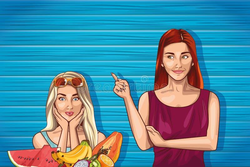 Мультфильмы женщин фотомоделей искусства попа иллюстрация штока