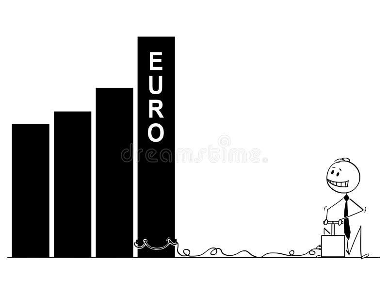 Мультфильм бизнесмена используя детонатор и взрывчатку для того чтобы разрушить диаграмму или диаграмму евро иллюстрация штока