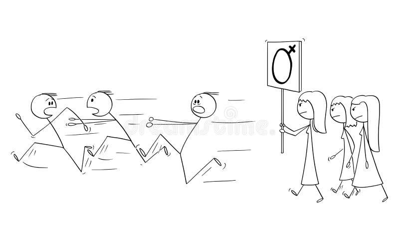 Мультфильм вектора группы в составе феминист женщины идя или обнародуя с женским знаком и людьми символа рода бежать прочь бесплатная иллюстрация