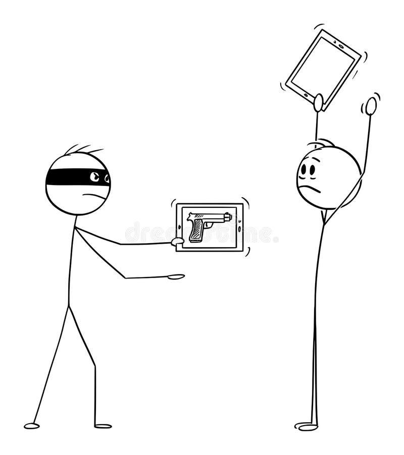Мультфильм вектора разбойника с виртуальным оружием как изображение по планшету или телефону Mugging человек с руками вверх иллюстрация вектора