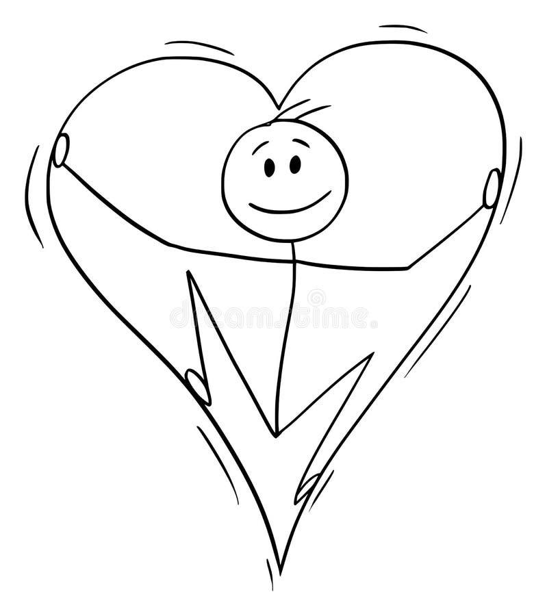 Мультфильм вектора человека в любов внутрь большого сердца иллюстрация вектора
