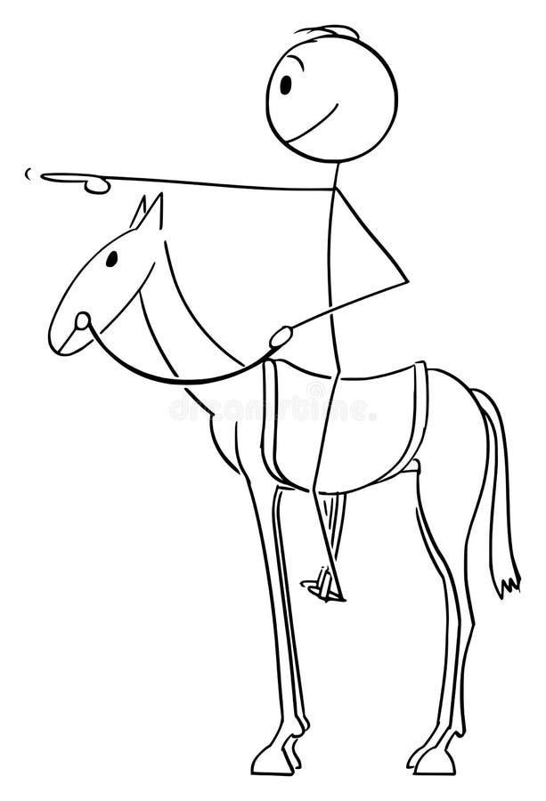 Мультфильм вектора человека или бизнесмена сидя или ехать на лошади и указывать передних с пальцем бесплатная иллюстрация