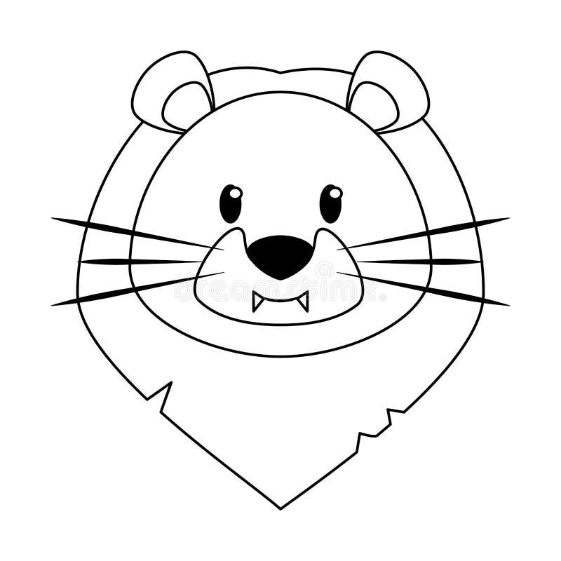 Мультфильм главной живой природы льва милый животный в черно-белом иллюстрация штока