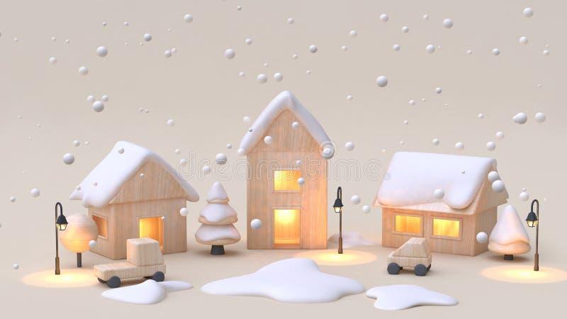 мультфильм городк-деревни игрушки абстрактной минимальной концепции Нового Года зимы снега предпосылки сливк деревянный вводит 3d иллюстрация вектора