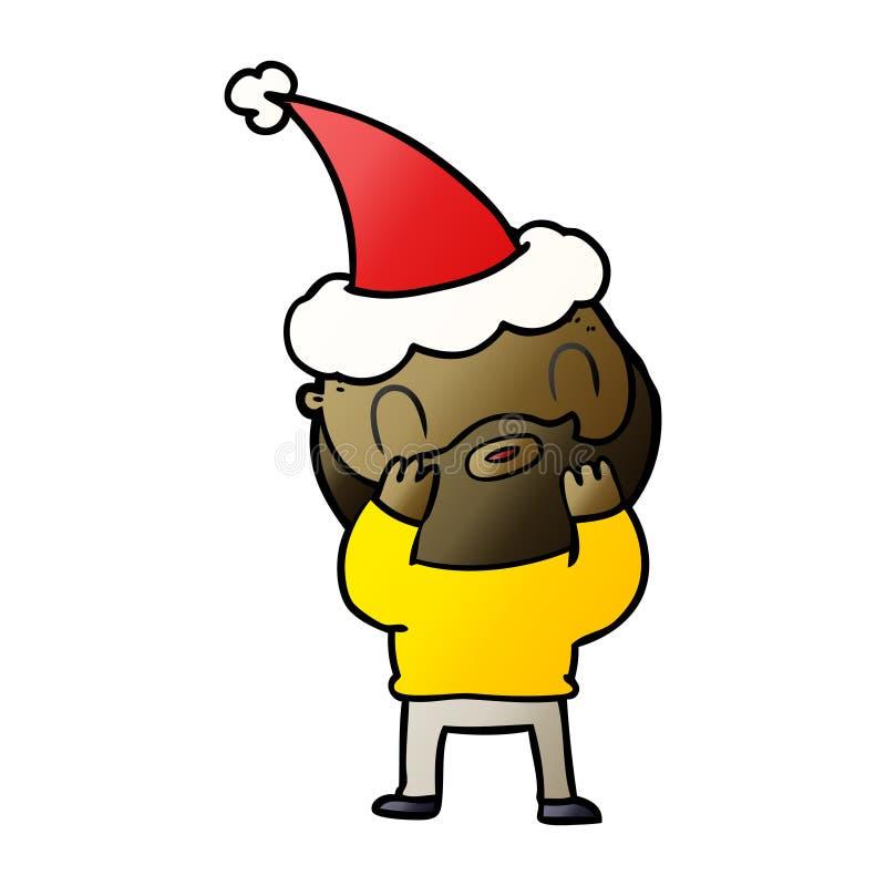мультфильм градиента бородатого человека нося шляпу santa иллюстрация вектора