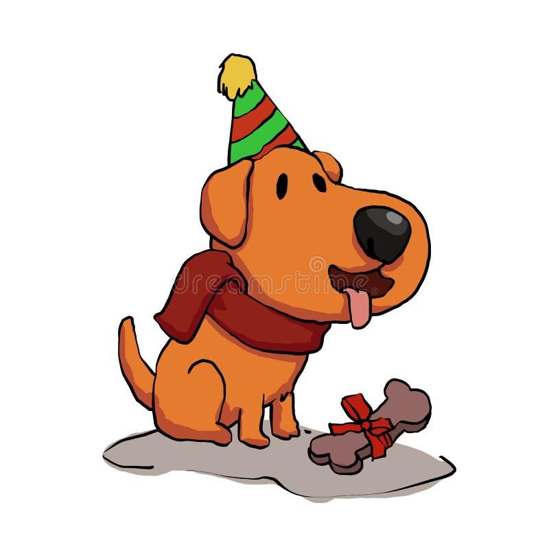 Мультфильм дня рождения собаки смешной иллюстрация штока