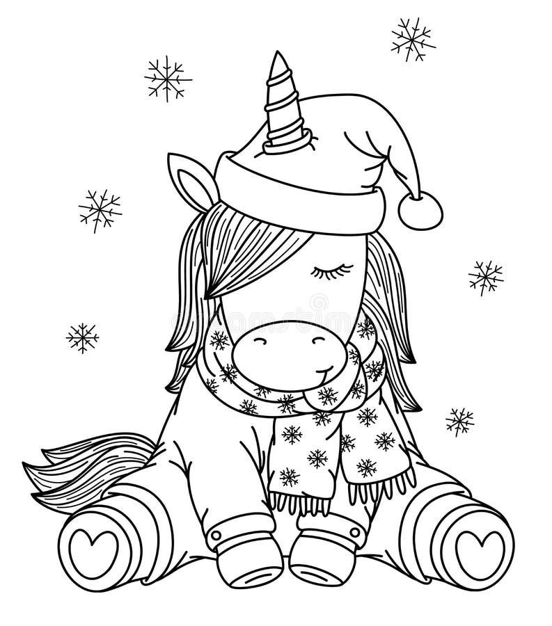 Мультфильм единорога вектора в шляпе рождества, черном силуэте стоковые фото