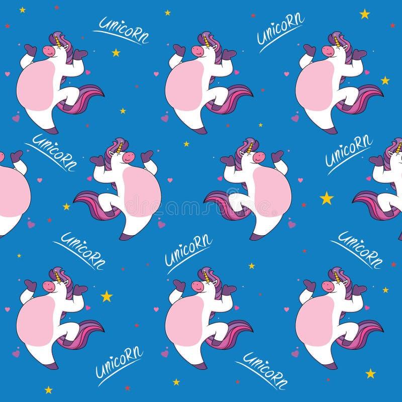 Мультфильм единорога жирный Картина милого мультфильма безшовная - ве иллюстрация вектора
