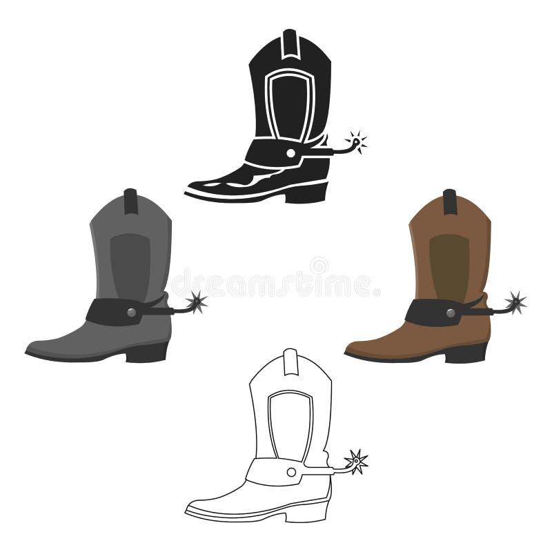 Мультфильм значка ботинка ковбоя, черный Подпалите западный значок от мультфильма Дикого Запада, черного бесплатная иллюстрация
