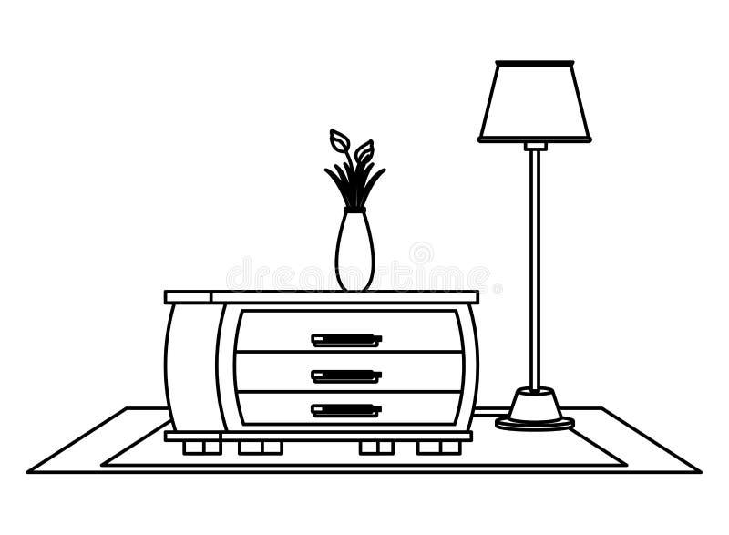 Мультфильм значка дома мебели внутренний в черно-белом иллюстрация штока