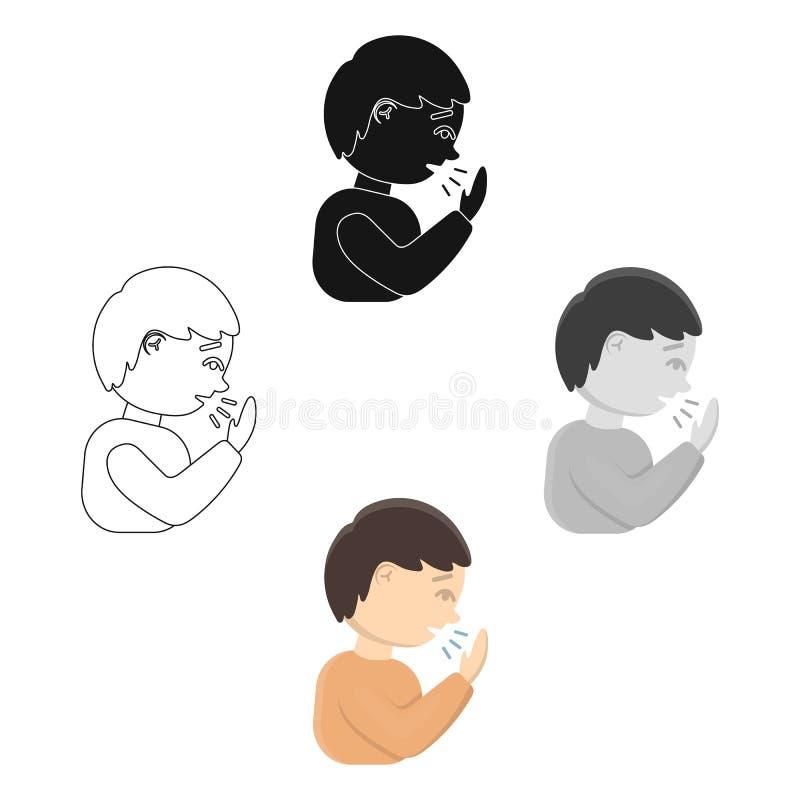 Мультфильм значка кашля, черный Одиночный больной значок от большой беды, мультфильм заболеванием иллюстрация вектора