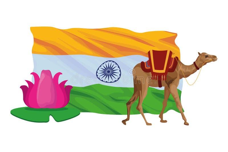 Мультфильм значка цветка верблюда и лотоса иллюстрация штока