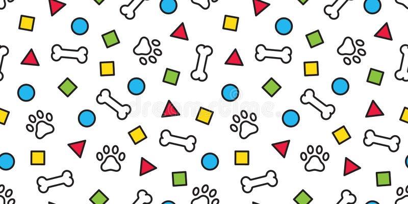 Мультфильм иллюстрации обоев повторения предпосылки плитки следа ноги французского бульдога косточки вектора картины лапки собаки иллюстрация штока