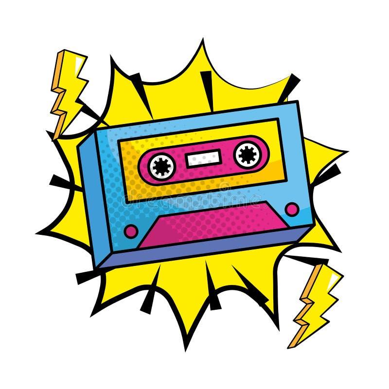 Мультфильм кассеты музыки искусства попа винтажный иллюстрация вектора