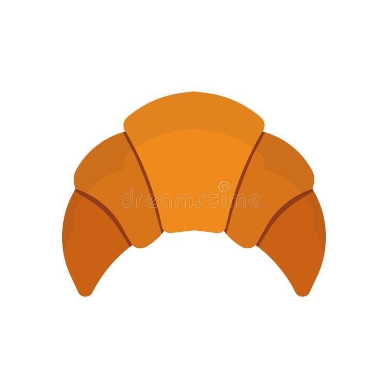 Мультфильм коричневого цвета еды взгляда сверху круассана французский испечь хлеб выше Символ обеда значка вектора коркы печенья  иллюстрация штока