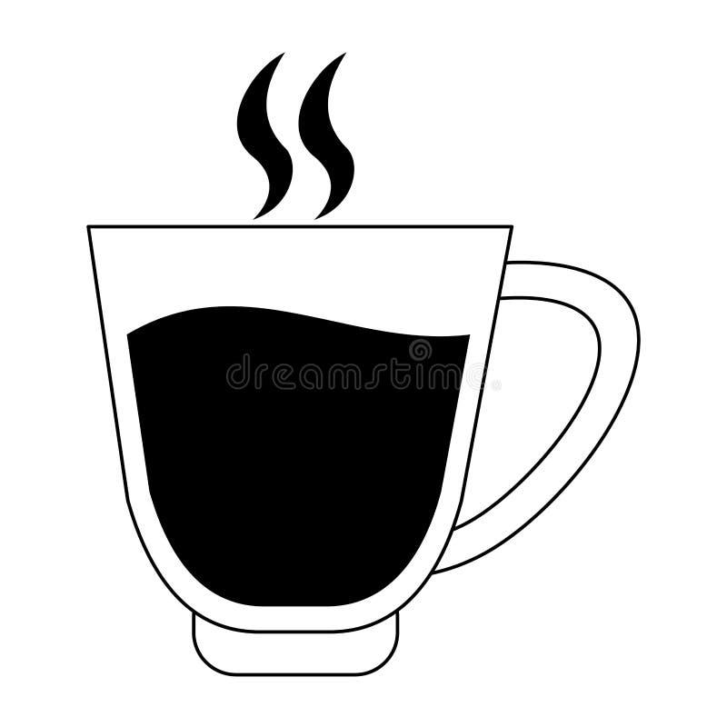 Мультфильм кофе черный горячий стеклянный в черно-белом бесплатная иллюстрация