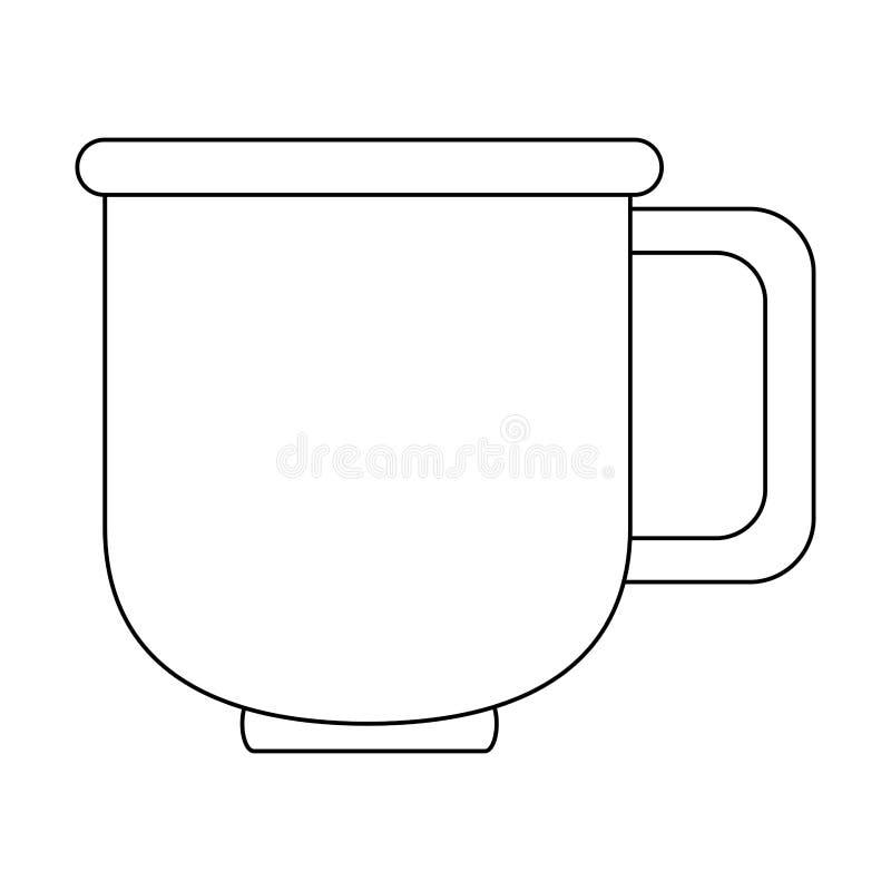 Мультфильм кружки кофе фарфора стеклянный в черно-белом бесплатная иллюстрация