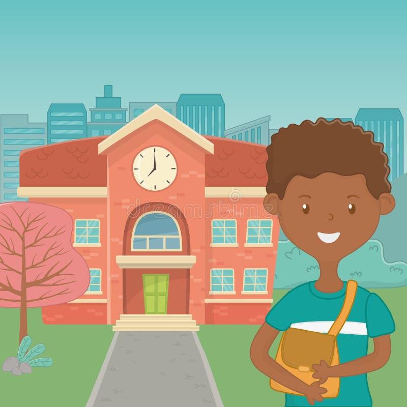 Мультфильм мальчика дизайна школы иллюстрация штока