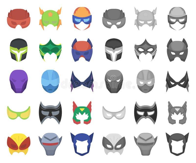 Мультфильм маски масленицы, mono значки в установленном собрании для дизайна Маска на сети запаса символа вектора глаз и стороны иллюстрация вектора