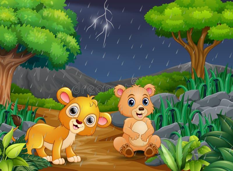 Мультфильм медведь и лев младенца в лесе под дождем бесплатная иллюстрация