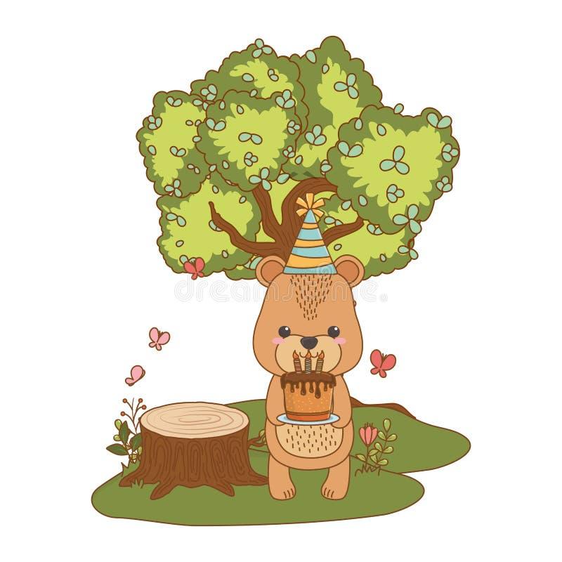 Мультфильм медведя с дизайном значка с днем рождений бесплатная иллюстрация