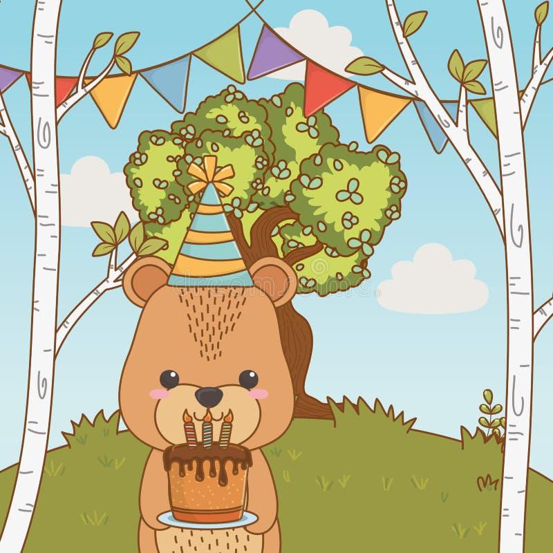 Мультфильм медведя с дизайном значка с днем рождений иллюстрация вектора