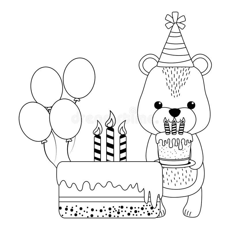 Мультфильм медведя с дизайном значка с днем рождений иллюстрация штока