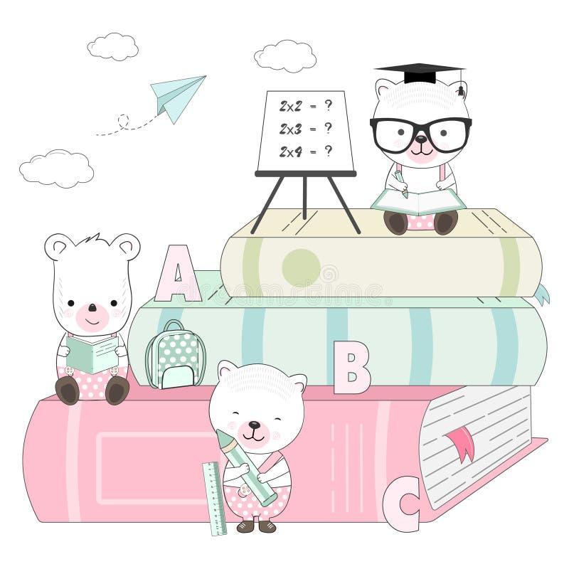 Мультфильм милой плюшевого мишки животный назад к иллюстрации школы бесплатная иллюстрация