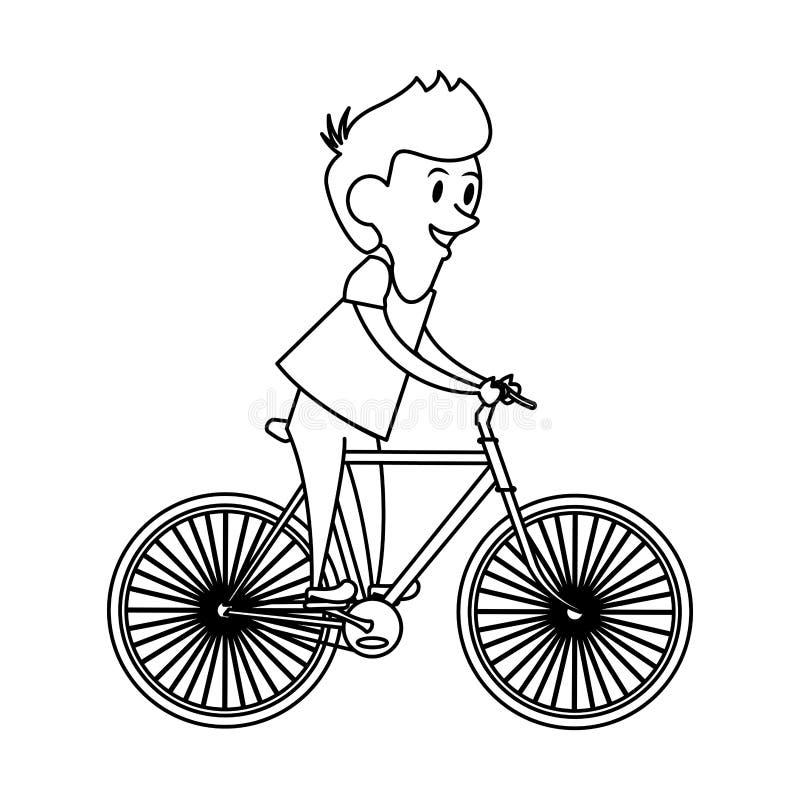 Мультфильм младенчества маленького ребенка мальчика в черно-белом иллюстрация вектора
