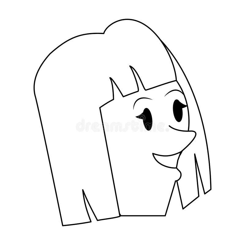 Мультфильм младенчества молодого парня девушки в черно-белом иллюстрация штока