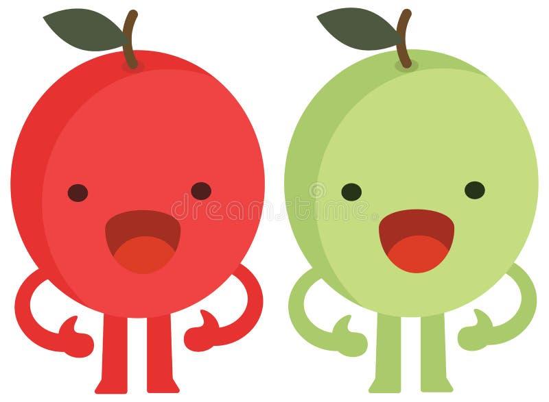 Мультфильм печати doodles чудовище яблок цитрусовых фруктов набора цвета лета плоское счастливое иллюстрация штока