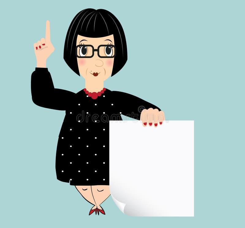 Мультфильм пожилой женщины держа чистый лист бумаги иллюстрация вектора