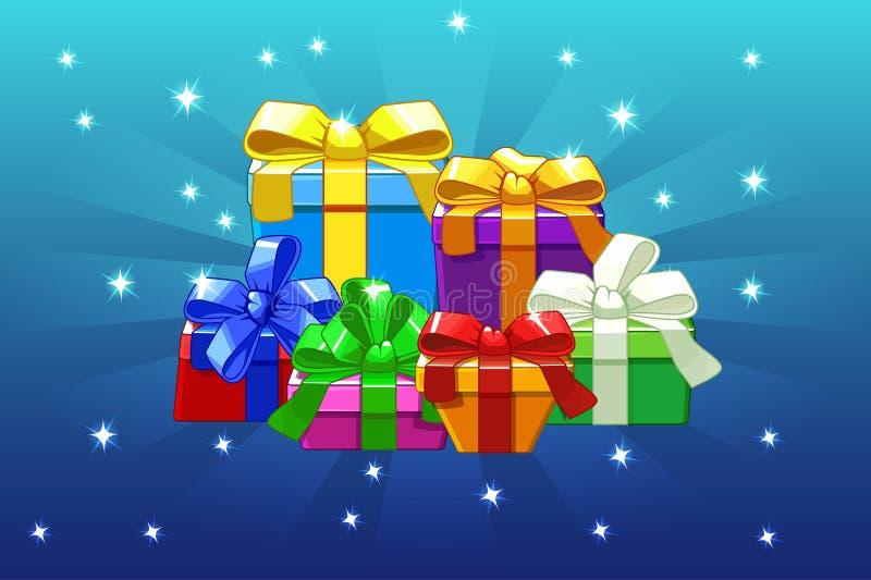 Мультфильм покрасил различные подарки на голубой предпосылке, предпосылке вектора бесплатная иллюстрация