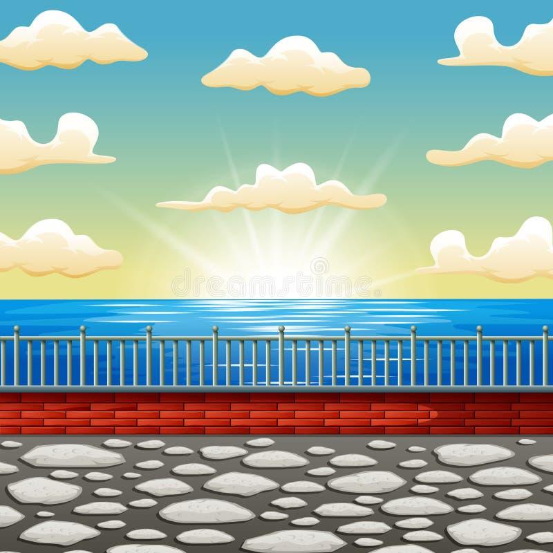 Мультфильм предпосылки красивая сцена моря восхода солнца бесплатная иллюстрация