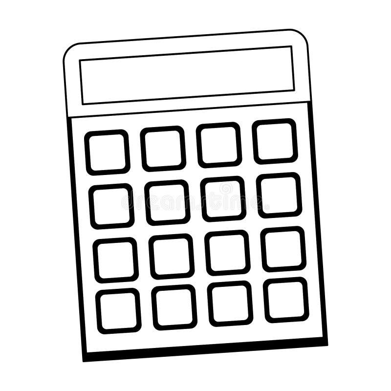 Мультфильм прибора математики калькулятора в черно-белом иллюстрация вектора