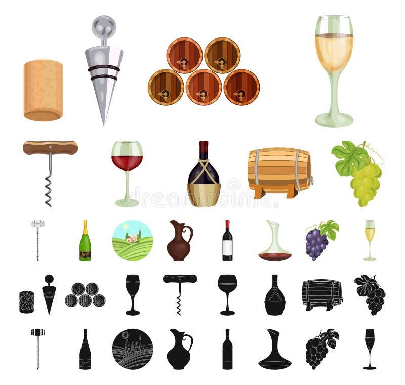 Мультфильм продуктов вина, черные значки в установленном собрании для дизайна Оборудование и продукция запаса символа вектора вин бесплатная иллюстрация