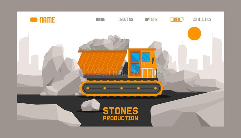 Мультфильм продукции камней здания плоско установил веб-дизайна знамен Камни и утесы в равновеликом векторе стиля 3d бесплатная иллюстрация