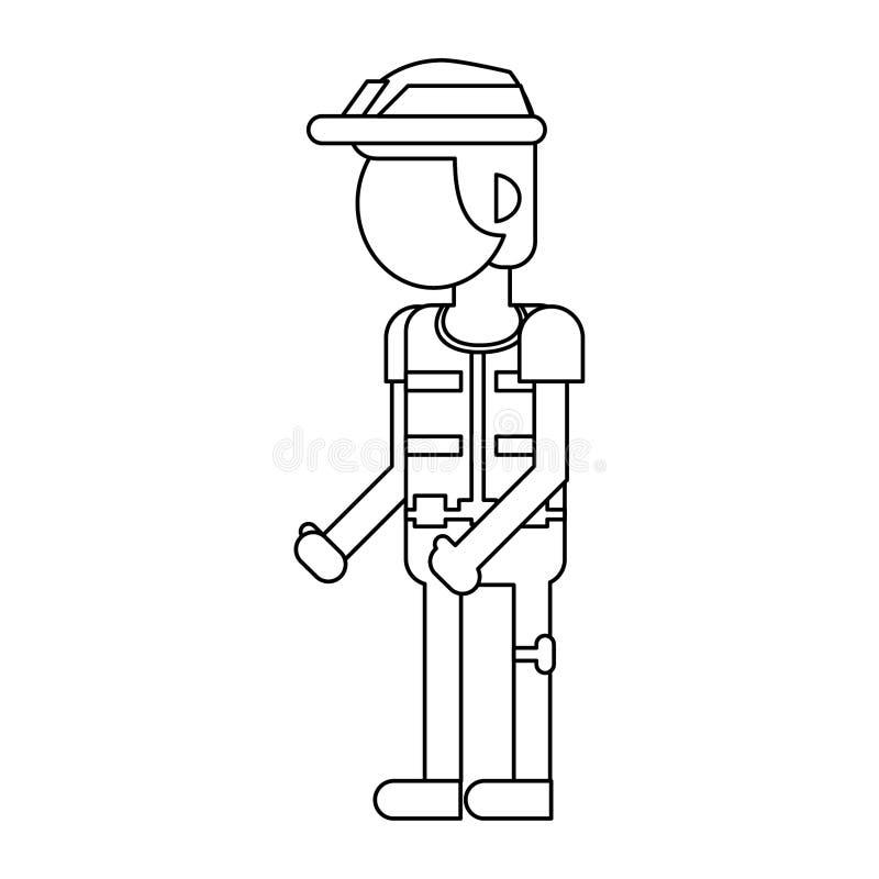 Мультфильм рабочий-строителя усмехаясь изолированный в черно-белое безликом иллюстрация вектора