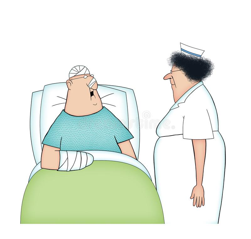 Мультфильм стационарного больного и медсестры изолированных на Whtie иллюстрация вектора