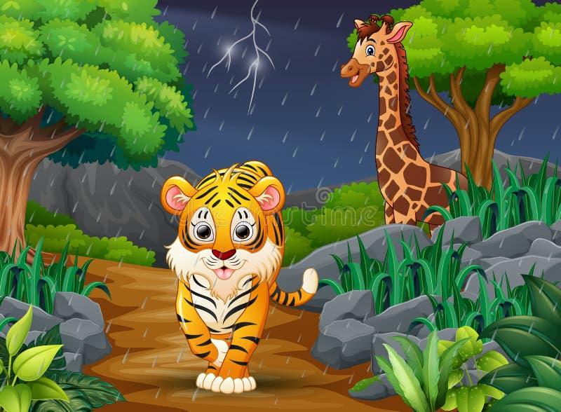 Мультфильм тигр и жираф в лесе под дождем иллюстрация штока