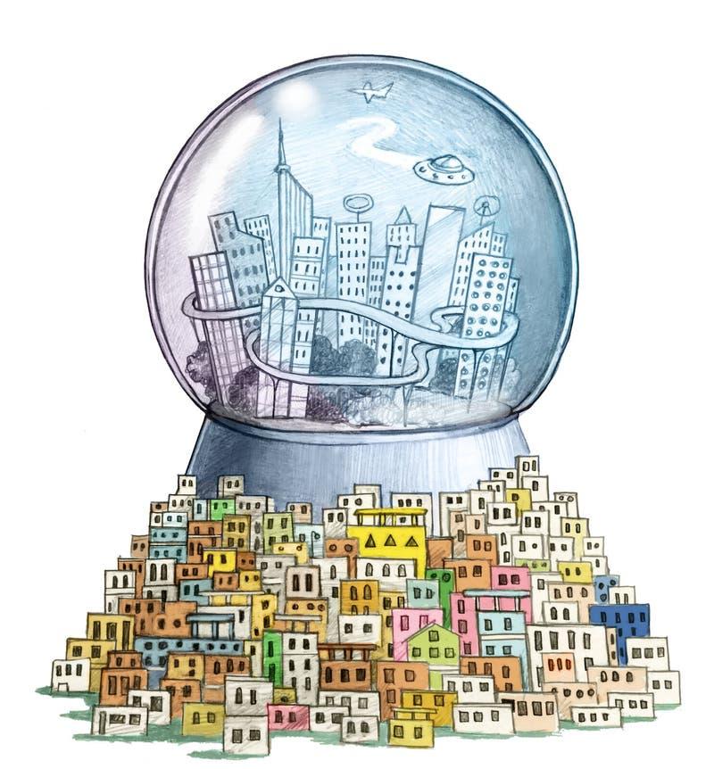 Мультфильм умного города политический иллюстрация штока