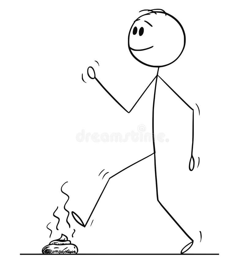 Мультфильм человека идя и шагая на экскремент собаки или корму или дерьмо или табуретку иллюстрация штока