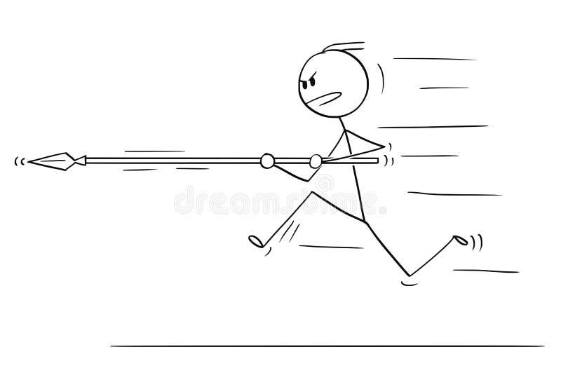 Мультфильм человека или бизнесмена бежать, поручая или атакуя с копьем иллюстрация вектора